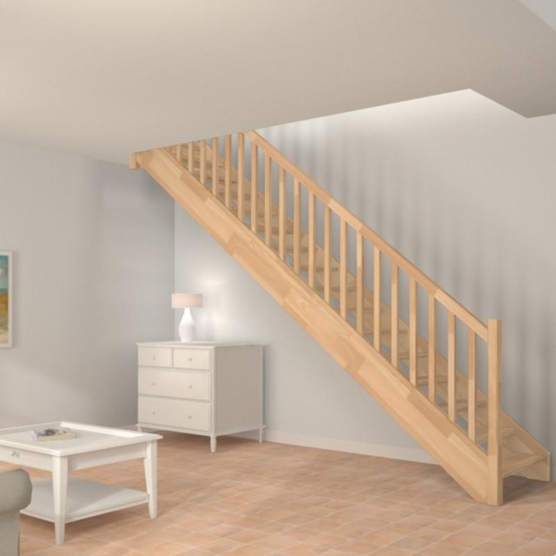 Escalier droit en bois modèle traditionnel