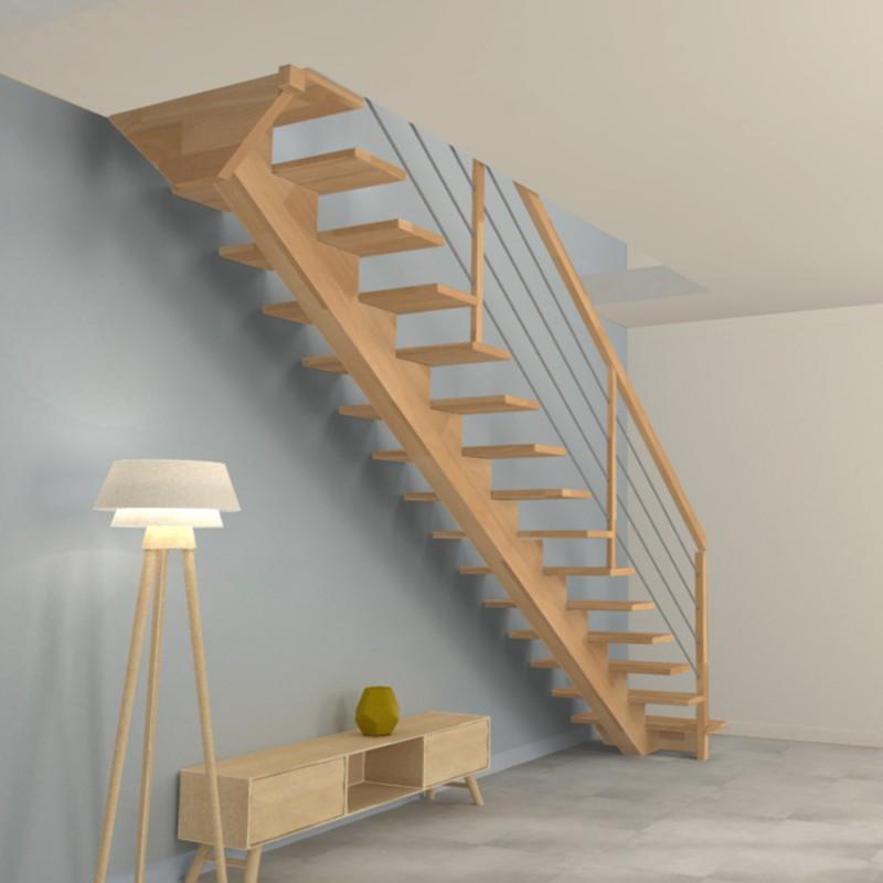 Escalier droit à poutre limon central en bois et poteaux bois