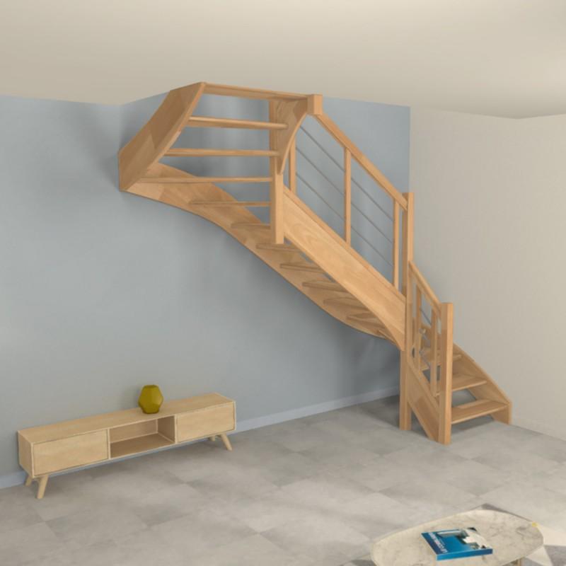 Escalier 2/4 tournant milieu bois et inox - Modèle contemporain