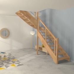 Escalier quart tournant sur-mesure en bois modèle contemporain