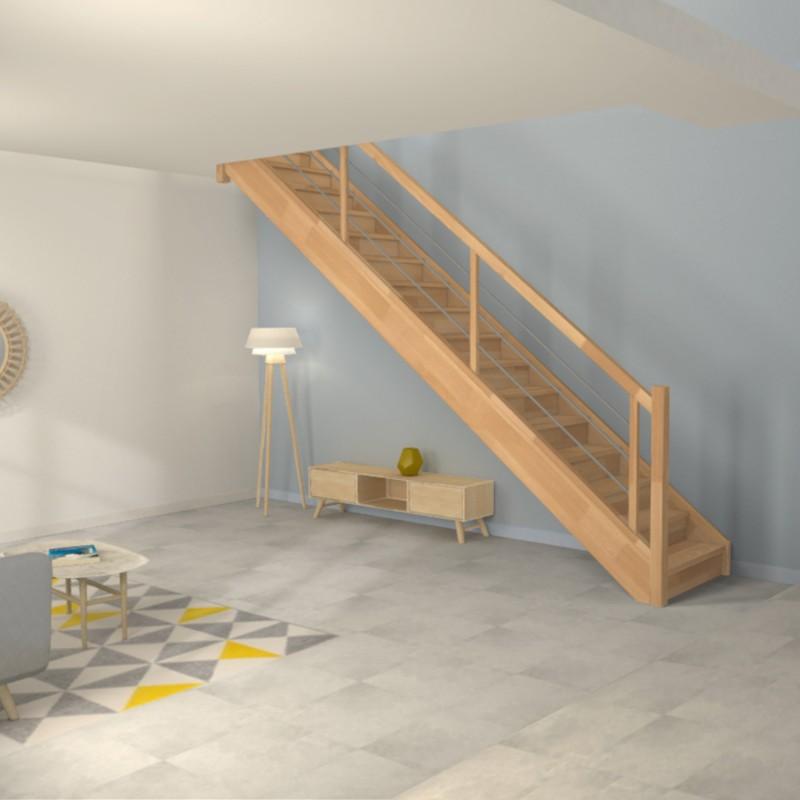 Escalier droit en bois et inox - Modèle Contemporain