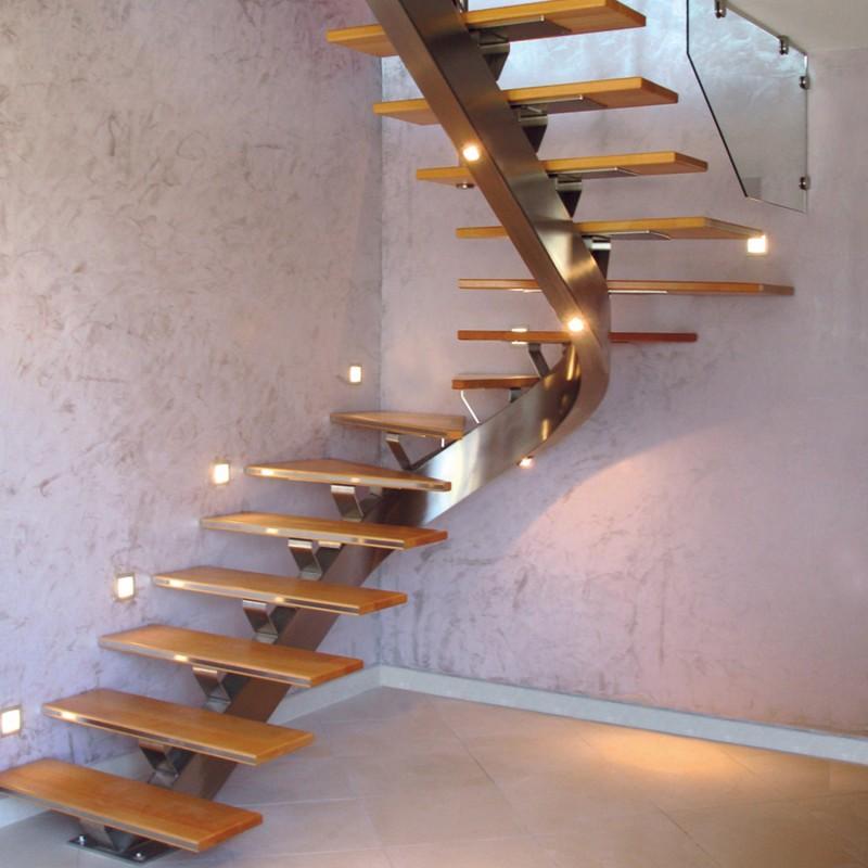 Escalier en inox et bois - Modèle Queens