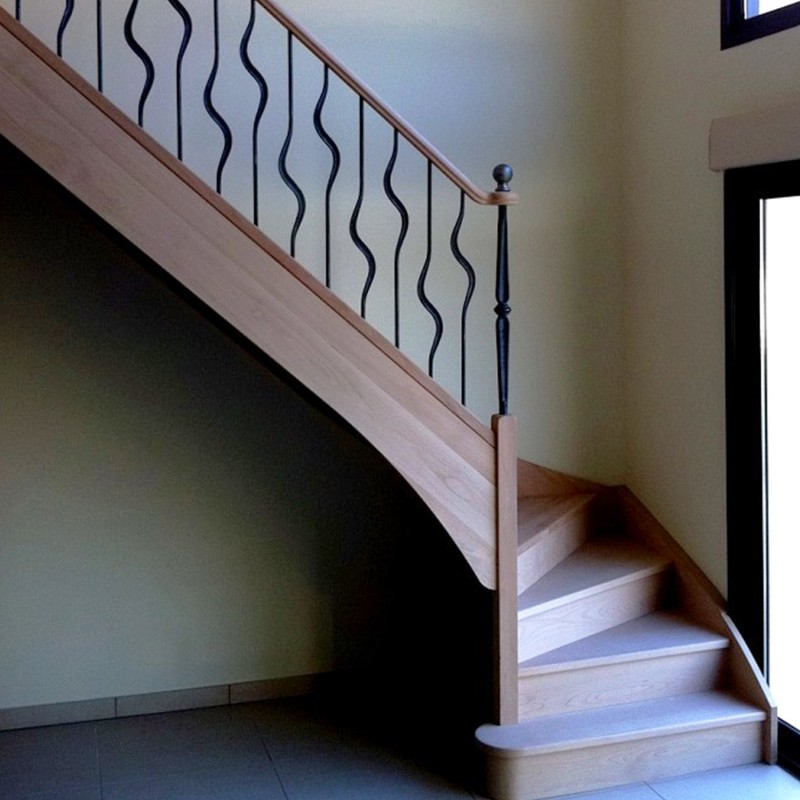Escalier en bois et fer forgé - Modèle Clé de Sol