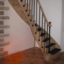 Escalier à l'anglaise en bois et métal