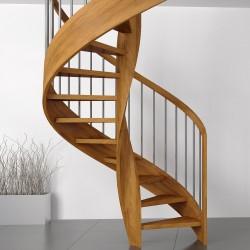 Escalier en colimaçon, ou hélicoïdal en bois et balustres en inox