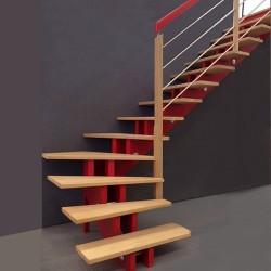 Escalier quart tournant en bois à limons rouge