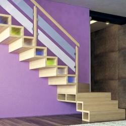 Escalier à caissons en bois contemporain modèle Hanovre Oéba