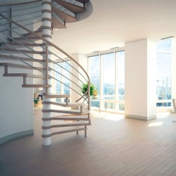 Escalier colimaçon en bois et métal inox