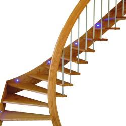 Escalier sur-mesure en bois à marches suspendues