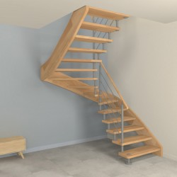 Escalier demi-tour sur-mesure à entretoises en inox