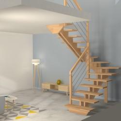Escalier demi tour à double limons centrés en bois