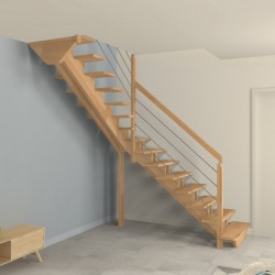 Escalier quart tournant milieu à doubles limons centrés en bois