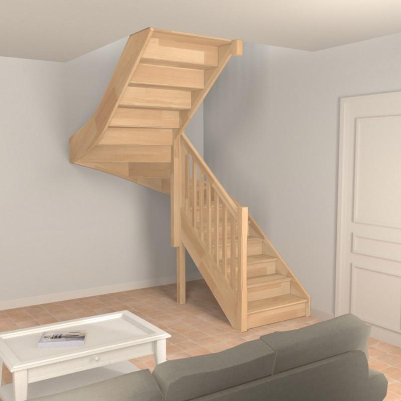 Escalier demi tour sur-mesure en bois