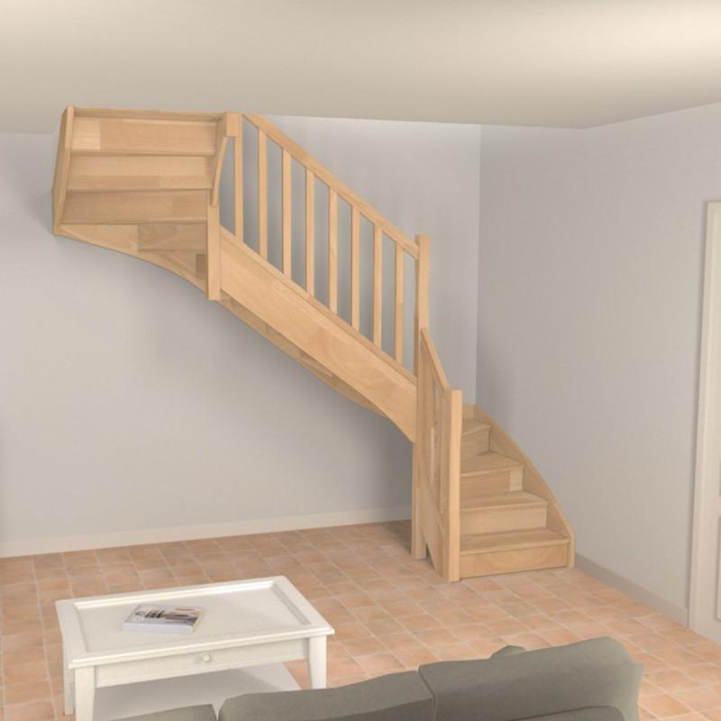 Escalier double quart tournant en bois sur-mesure