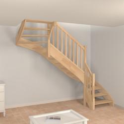Escalier 2 4 tournant sur mesure en bois, avec ou sans contremarche