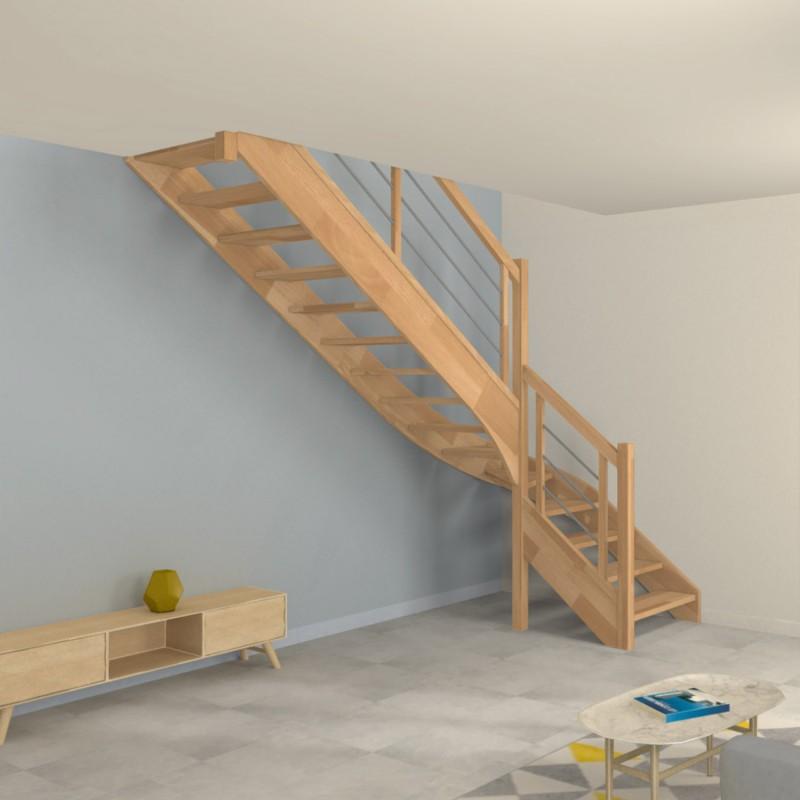 Escalier 1/4 tournant départ en bois et inox - Modèle Contemporain