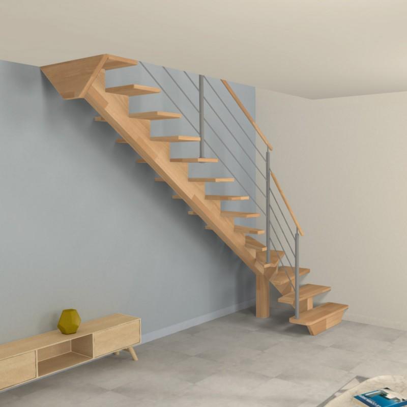 Escalier 1 4 Tournant Bas A Poutre Limon Central En Bois Et Poteaux En Inox
