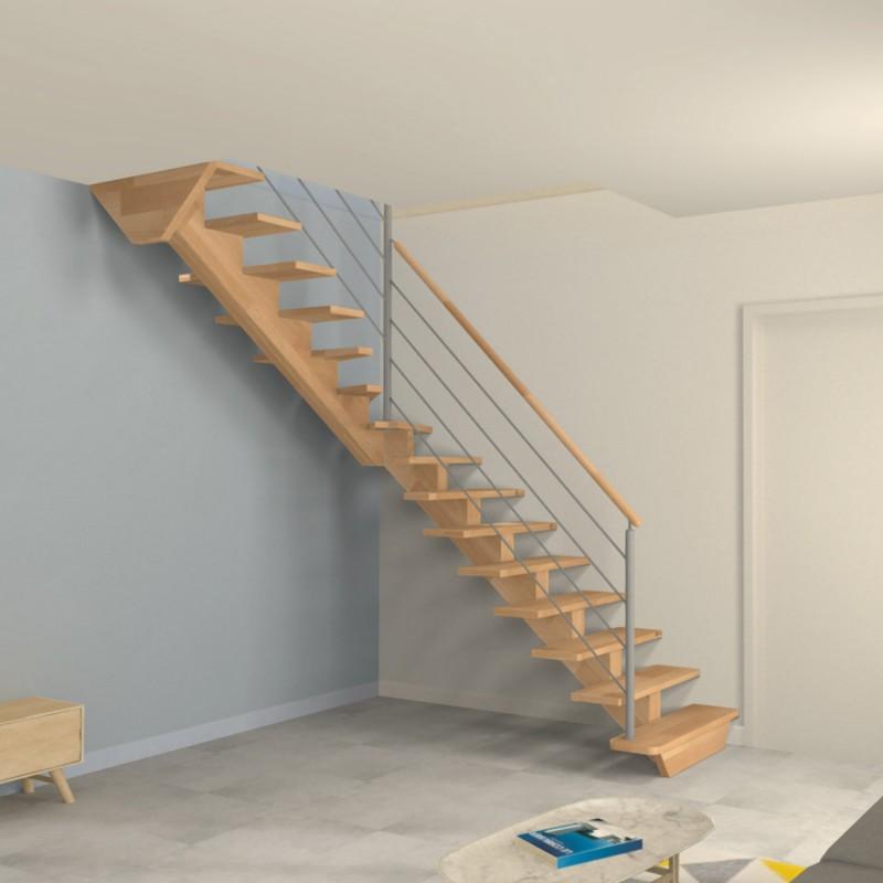 escalier 1 4 tournant milieu poutre limon central en bois et poteaux inox. Black Bedroom Furniture Sets. Home Design Ideas