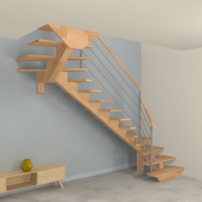 Escalier à limon central en bois