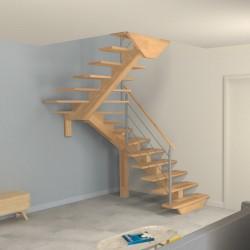 Escalier demi tournant à limon central en bois
