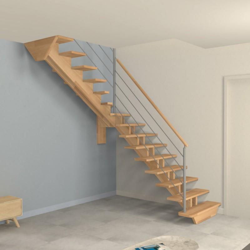escalier 1 4 tournant milieu double limons centr s en bois garde corps inox mod le constance. Black Bedroom Furniture Sets. Home Design Ideas