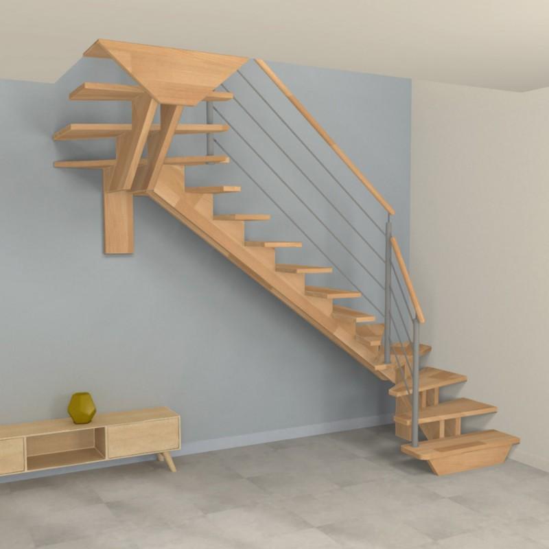 Escalier double quart tournant à double limons centrés crémaillère