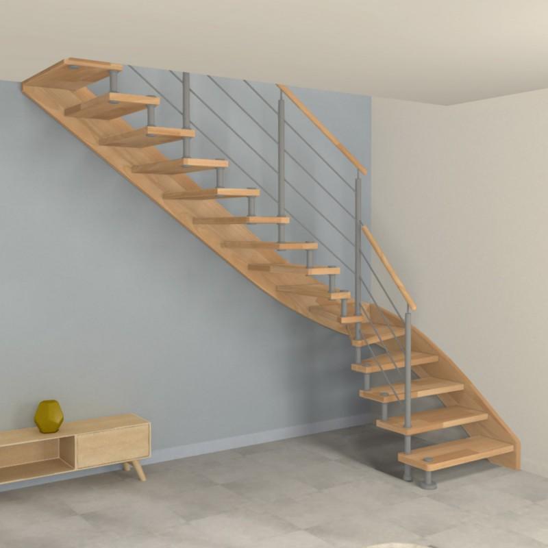 Escalier quart tournant à entretoises en inox et marches en bois