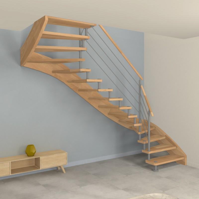 Escalier double quart tournant à entretoises en inox