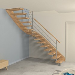 escalier quart tournant milieu entretoises en inox. Black Bedroom Furniture Sets. Home Design Ideas