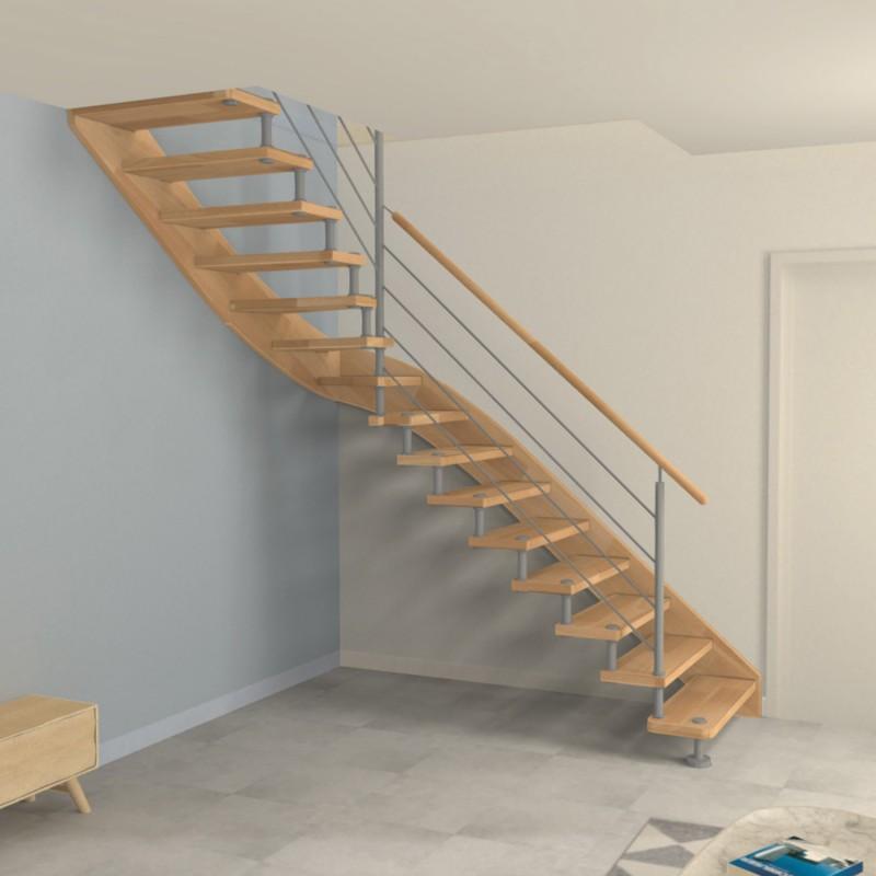 escalier quart tournant milieu entretoises en inox mod le for t noire. Black Bedroom Furniture Sets. Home Design Ideas