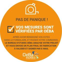 Le bureau d'études OéBa vérifie toutes les mesures de votre escalier après la commande et avant la fabrication