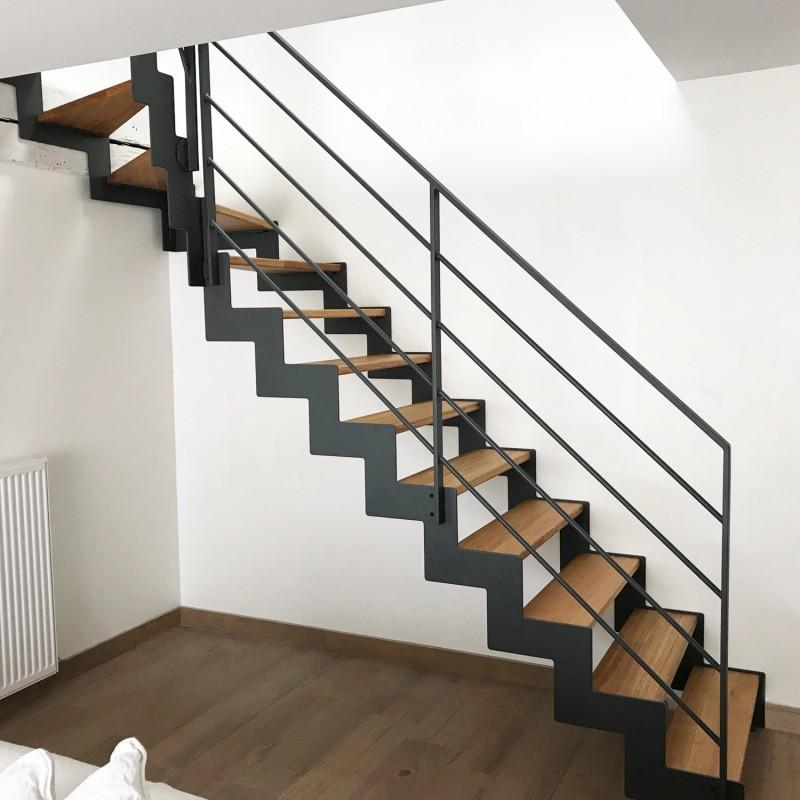 Escalier moderne en métal et en bois sur-mesure | Oéba