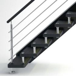 Détails de l'escalier contemporain à entretoises en inox
