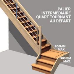 Palier intermédiaire en option pour escalier quart tournant au départ