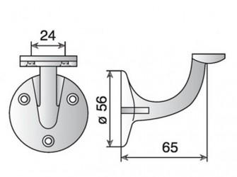 Support en aluminium pour main-courante d'escalier