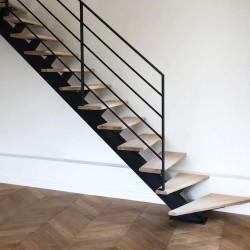 Escalier droit limon central métal et marches en bois