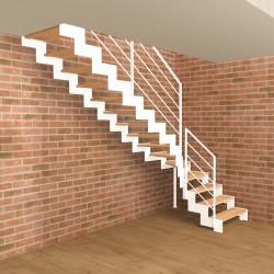 Escalier quart tournant métallique blanc à limons découpés en Z et marches en bois