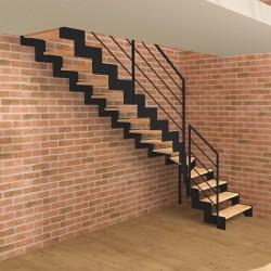 Escalier quart tournant métallique noir à limons découpés en Z et marches en bois