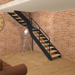 Escalier quart tournant milieu métallique à limons à la française et marches en bois