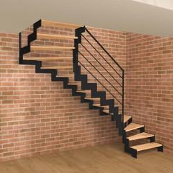 Escalier double quart tournant métallique à limons découpés en Z et marches en bois