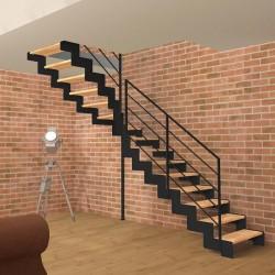 Escalier quart tournant milieu métallique à limons découpés en Z et marches en bois