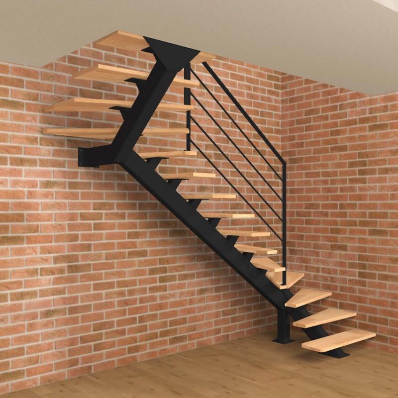 Escalier limon central métal double quart tournant avec marches en bois