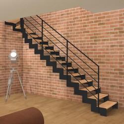 Escalier quart tournant haut métallique à limons découpés en Z et marches en bois
