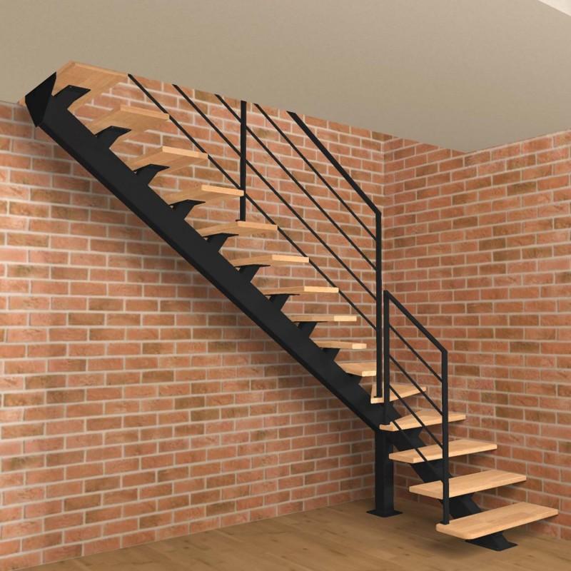 Escalier quart tournant bas à limon central en acier et marches en bois