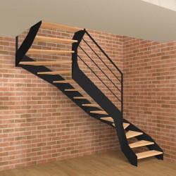 Escalier double quart tournant métallique à limons à la française et marches en bois