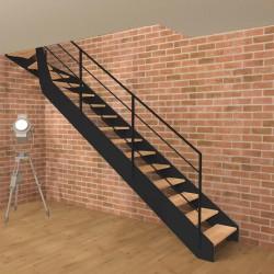 Escalier quart tournant haut métallique à limons à la française et marches en bois