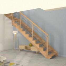 Escalier quart tournant haut à limon crémaillère bois d'un côté et poteaux bois, modèle design | Oéba