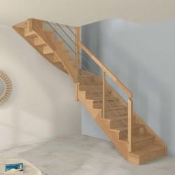 Escalier quart tournant milieu à limon crémaillère bois d'un côté et poteaux bois, modèle design | Oéba