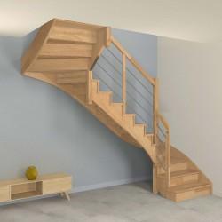 Escalier double quart tournant à limon crémaillère bois d'un côté et poteaux bois, modèle design avec contremarches