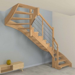 Escalier double quart tournant à limon crémaillère bois d'un côté et poteaux bois, modèle design sans contremarche